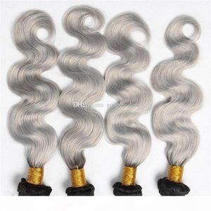 Wholesale sliver prices for sale - Group buy 4 Bundles B Grey Ombre Hair Weaves A Brazilian Human Hair Sliver Grey Hair Bundles Cheap Price Two Tone Extensions