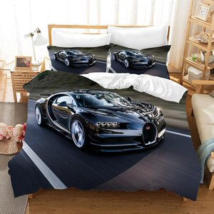Wholesale race car beds resale online - Luxury Supercar D Bedding Set Duvet Covers Bed Linen Bugatti Racing Car Comforter Bedding Sets Bedclothes Bed Linens NO Sheet