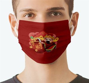 Wholesale character face masks for sale - Group buy New Designer Chinese Characters Adults Mask Cartoon Style Printed Comfortable Washable New Year Anti Dust Windproof Mouth Reusable Mask