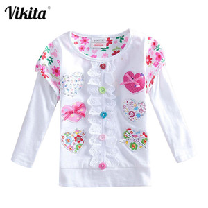 Wholesale cartoon shirts for kids resale online - VIKITA T Shirts for Girls Long Sleeve T Shirt Baby T Shirt Child Clothes Wear Tops Cartoon Princess T shirts for Kids L339 MIX F1207