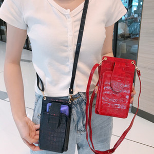 Wholesale buckles credit card for sale - Group buy Designer Mobile Phone Bag New Fashion Matching Gold Buckle Crocodile Pattern Bag Trendy Lady Messenger Card Bag WF2012292