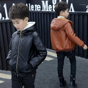 Wholesale girls leather fur jackets resale online - 6 Years Kids Boys Girls Hooded Fur Zipper Biker Leather Jacket Winter Warm Fleece Coat Children teenager Outerwear1