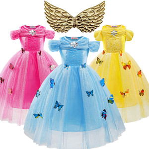 Wholesale cinderella baby clothes resale online - Girls Cinderella Dress Baby Cinderella Cosplay Costume Butterfly and Wings Halloween Christmas Evening Dress Kids Girls Clothing F1202