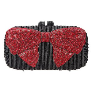 Wholesale black white handmade handbags resale online - Luxury Black Red Colors Evening Crystal Clutches Bag Women Party Purse Handmade Diamond Lady Dinner Bags Clutch Handbags Q1116