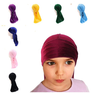Wholesale pirate covers resale online - Boys Girl Velvet Durag Long Tail Head Wraps Child Dorag Durags Turban Wigs Pirate Caps Headscarf Hip Hop Hats Hair Cover Accessories G12209