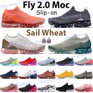 weizencreme großhandel-Top Männer Frauen fliegen MOC Laufschuhe Segelweizen Universität Rot Fushsia Blast Black Jade Hot Punch Light Creme Sneakers