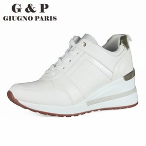 Wholesale women height insole resale online - White wedge sneakers casual wedges women shoes height increase cm woman platform shoes fashion high quality leather insole
