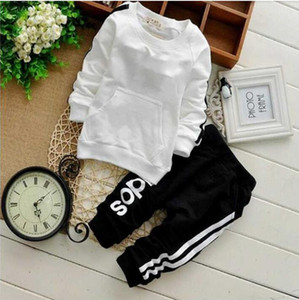 Wholesale white unisex baby clothes resale online - Kids Baby sport Suit Boys Long Sleeve T Shirt Pants girls jogging casual Clothes Children clothing set kids hoodies tracksuit