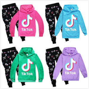 Wholesale boys tracksuit 12 resale online - Tik Tok Set For Big Boy Girl Tracksuit Clothes Autumn Tiktok Kid Hooded Sweatshirt Print Pant Outfit Children Sport Suit Year Lababy102