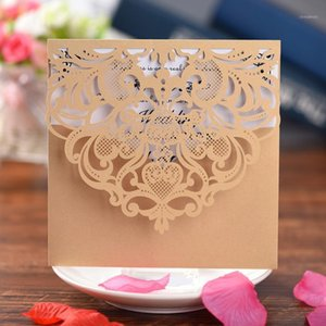 Wholesale printable birthday cards resale online - Laser Cut Lace Wedding Party Invitations Cards with Printable Paper for Engagement Wedding Marriage Birthday greeting1