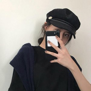 Wholesale trendy berets resale online - Spring Autumn Army Hats Female British Korean Version Trendy Spring and Summer Navy Beret Wild Thin Black Painter Octagonal Hat