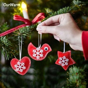 Wholesale felt ornaments for sale - Group buy OurWarm DIY Felt Merry Christmas Tree Ornament Xmas Tree Decoration Bird Heart Star Hanging Ornament Supplies New Year