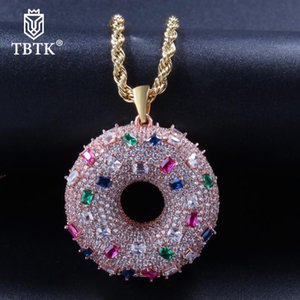 Wholesale doughnut pendant for sale - Group buy TBTK Direct Selling Rose Gold Doughnut Pendant Necklace Copper Donut Charms Iced Out CZ Stone Trendy Sweet Buns Jewellry Unisex