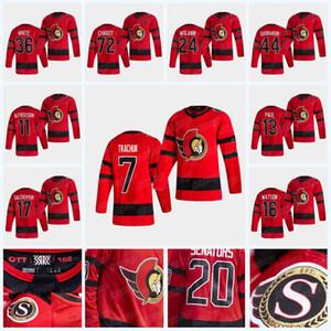 Ottawa Senators 2020-21 Reverse Retro Jersey Brady Tkachuk Tim Stuetzle Thomas Chabot Matt Murray Bobby Ryan Duclair Craig Anderson