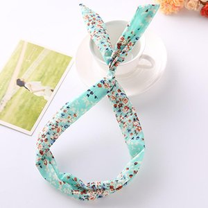 Wholesale korean bunny girl for sale - Group buy Korean Rabbit Bunny Ear Ribbon Hair Band Wire Elastic Headband Scarf Vintage Floral Hairband Girls Ladies Hair Accessories Q jllQPf