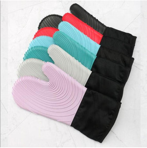 Wholesale heat gloves for sale - Group buy Silicone Oven Gloves Microwave Thicken Heat Proof Gloves Waterproof Bakeing Glove Table Placemat Mitt Pad Kitchen Tools DDB3507