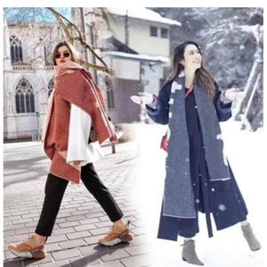 luxury- New Scarf for Autumn and Winter in America in 2019 Foreign Trade Pure Color Letter Logo Scarves Cashmere-like couple Scarf Shawl