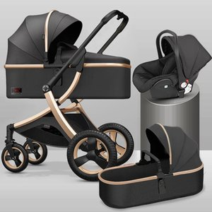 Wholesale newborn car seats resale online - 2020 High Landscape Baby Stroller in With Car Seat and Stroller Luxury Infant Set Newborn Baby Car Seat Trolley