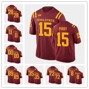 штат айова  оптовых-Пользовательские IOWA State Cyclones Mens Brock Purdy Football Ncaa Jersey College Jones O rien Vance Milton Charlie Kolar Rose Lang Akers Bailey