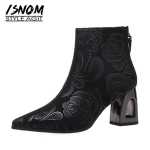 Wholesale strange flowers for sale - Group buy ISNOM Suede Ankle Boots Women Flower Pointed Toe Strange High Heels Short Booties Shoes Woman Elegant Ladies Boot Vintage
