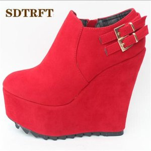 Wholesale small yards boots women resale online - SDTRFT Buckle Ankle boots cm High Heeled Platform botas mujer Wedges shoes woman wedding RED Pumps Small Yards