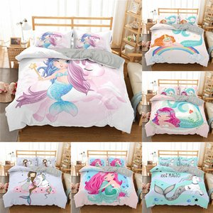 Wholesale twins babies boy girl for sale - Group buy Homesky D Cartoon Mermaid Bedding Set For Kids Baby Child Boy Girl Unicorn Duvet Cover Set Twin Full Bed Linen Cover Set Q1127