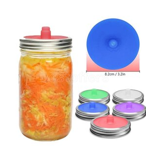 Mason Jar Lids Wide Mouth Bottle Silicone Sealed Lids Split-Type Fermentation Lids For Sauerkraut Kimchi Pickles Kitchen Supply