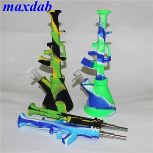 Wholesale gun hookahs resale online - 10 machine gun shape ak47 water pipes portable silicone water bong unbreakable shisha hookah tobacco smoking pipe with mm joint