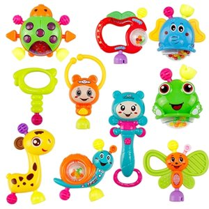 ingrosso set di sonaglio teether-10pcs Spin Rattle Musical Teether Toy Set Set di giocattoli educativi precoce Mese Baby Infant Neonato