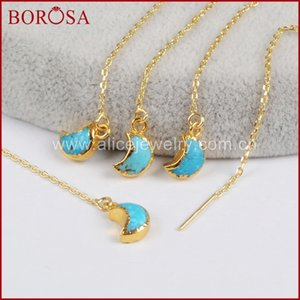Wholesale threader earrings for sale - Group buy BOROSA Gold Color Natural Blue Stone Moon Threader Earrings Druzy Stone Crescent Dangle Drop Earrings for Women G1244 Z1128