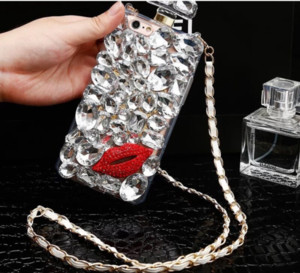 черное бриллиантовое яблоко  оптовых-Роскошные Bling Perfume Black Kiss Kiss Red Lips Rhinestone Diamond Case для iPhone Mini Max Samsung Galaxy S8 S6 S7 Edge Plus Note