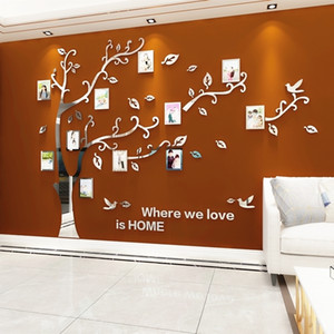 Wholesale frames for tv for sale - Group buy Wall Stickers Tree Photo Frame D Acrylic Mirror Wall Decals For Sofa TV Background Wall Decor DIY Family Photo Frame Stickers LJ201128