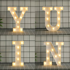 Wholesale decorative household resale online - Household English Letter Lamp Arabic Numerals LED Wedding Celebration Birthday Confession Propose Coloured Lights hb J2
