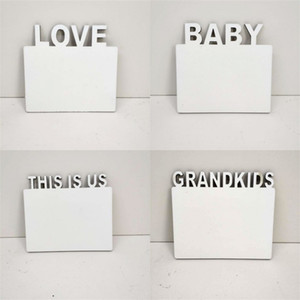 Wholesale wooden photo frames home resale online - White Photo Frame Sublimation Blank Grandkids Baby Letters Picture Boards DIY Wooden Bedroom Decor Frames Home mm bd G2