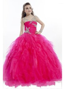 Wholesale fushia wedding dresses resale online - Fushia Tulle Flower Girls Dresses Girls Pageant Formal Princess Dresses First Communion Dress Kids Wedding Party Dress1