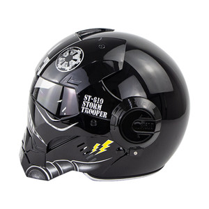 casco de ironman al por mayor-Start War Flip Up Ironman Shiny Black Color Motocicleta Casco Moto Storm Trooper Trooper Full Face Scooter Cascos Envío gratis ST
