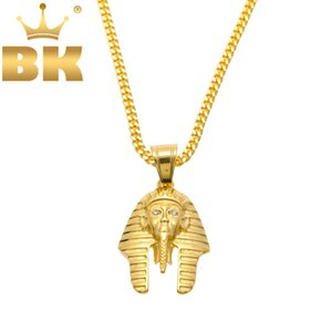 Wholesale hiphop jewelry resale online - Vintage Classic Egyptian Pharaoh Head Stainless Steel Gold Color Pendant Necklace With Cuban Chian For Men Women Hiphop Jewelry Q1129