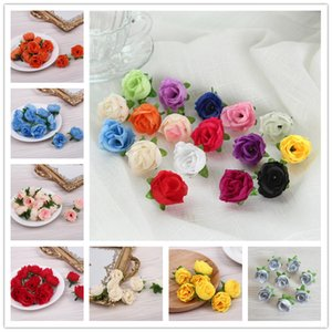 Wholesale rose buds resale online - Wedding Decorations Flower Artificial Silk Rose Flower Head Home Party Handwork DIY Bud Decor Simulation Flower Fake Flowers GWD3466