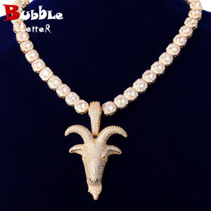 Wholesale gold pedant for sale - Group buy Gold Color Sheep Head Necklace Full Zircon Pedant Material Copper Hip Hop Rock Street Jewelry