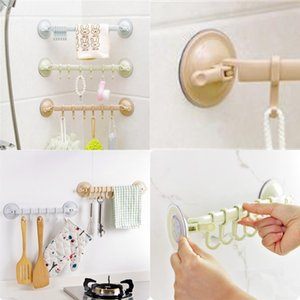 Wholesale hanging nails resale online - Sucker Hang Hook Shower Room Wall Behind Door Hooks Kitchen Strength Nailing Free No Trace Agrafe yy L1