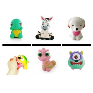 Wholesale toy big eyes resale online - New squishy slow rebound one eye monster big eye lizard big mouth monster simulation cute scarf dog zebra green turtle squeeze vent toy