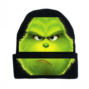 Wholesale cycling caps for sale - Group buy 2021 New Christmas Green Hairy Monster Grinch Cap Cosplay Animation Cartoon Men And Women Outdoor Cycling Warm Knit Cap Custom