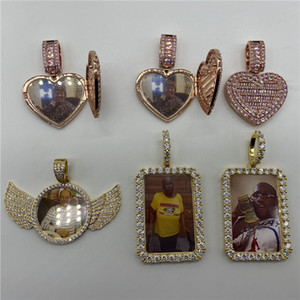 Wholesale medallion gold for sale - Group buy Iced Out Rose Gold Heart Shaped Custom Photo Pendant Zircon Medallion Necklace Cubic Zirconia Pendant Necklace Hip Hop Fashion Jewelry Can B
