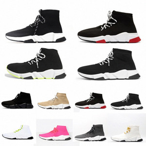 Wholesale laced up boots for sale - Group buy with box designer men women speed trainer sock boots lace up mens socks boot casual shoes shoe runners runner sneakers Lwot