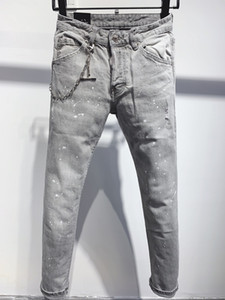2021, the new brand fashion European and American summer men's wear jeans are men's casual jeans A189