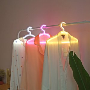 Wholesale neon decorative lighting for sale - Group buy Creative Led clothes hanger neon light Clothes Hangers ins lamp proposal romantic wedding dress decorative clothes rack T9I00950