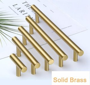 Wholesale gold pulls for sale - Group buy Gold Color Tbar Solid Brass Cabinet Handles Furniture Drawer Pulls Kitchen Cupboard Knobs Pul jllPnF trustbde