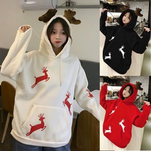 Wholesale girl' hoodie resale online - Cute Antler Design Christmas Print Hooded Hoodie Women s Long Sleeves With Pocket Oversize Blouse Preppy Style For Teens Girls