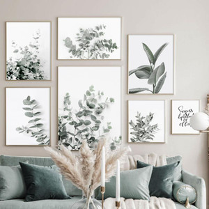 ingrosso immagini salotti moderni-Eucalyptus Gomma Green Plant Leaves Art Canvas Painting Nordic Poster e Stampe Immagini Modern Wall Pictures for Living Room Decor