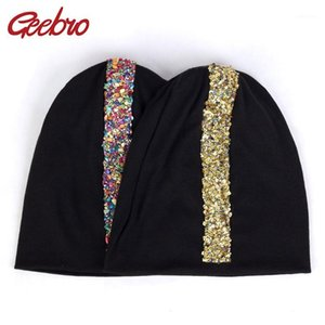 Wholesale slouchy beanies for sale - Group buy Geebro Colorful Stones Gold Sequins Applique Beanies Winter Warm Hats For Women Fashion Female Cotton Hats Slouchy Caps DZ9361